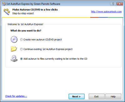1st AutoRun Express Welcome page: Option to add autorun to files currently waiting to be written to the CD. Click to enlarge...