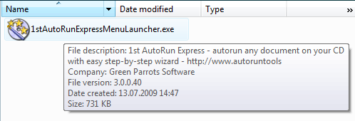 Default 1st Autorun Express launcher displayed in Explorer with version info in the tooltip.