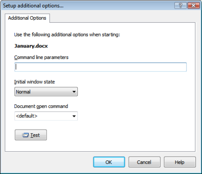 Setup additional options for autorun document. Click to enlarge...