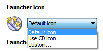 Select autorun launcher icon: default, the same as selected for CD and custom